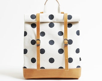 Polka dot rucksack / high quality Japanese canvas, hand made in Japan
