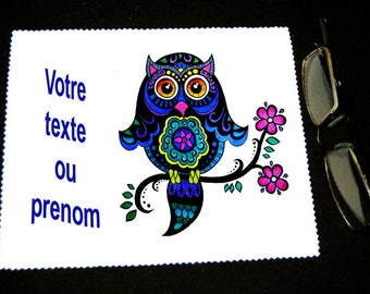 """Cloth wipes OWL glasses name or text of your choice""""model 1"""""""