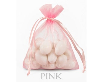 100 Pink Organza Bags, 4 x 6 Inch Sheer Fabric Favor Bags, For Wedding Favors, Jewelry Pouches