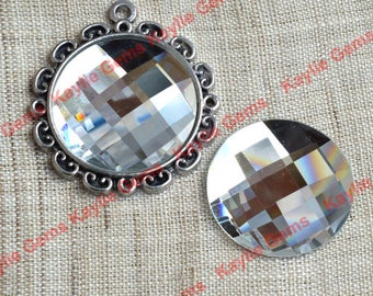 New - Mirror Glass Cabochon cab 25mm Round Checker Cut Faceted Dome -Diamond Clear - 2pcs