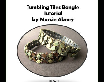Beadweaving Tutorial Tumbling Tiles Beadwoven Tila Bangle Tutorial Instant Download PDF Tutorial Beading Beaded Lessons Instructions