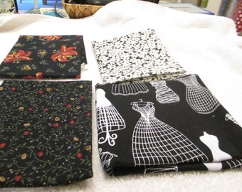 Fat quarter bundle with 4 black, white and red quarters A8