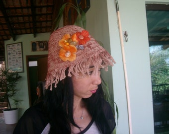 Crocheted hat with flowers. Free shipping.