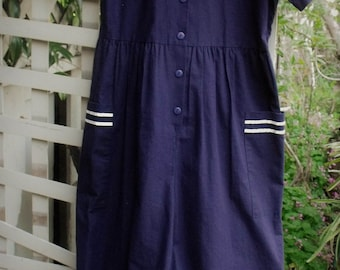 80's Navy Cotton Jumpsuit/ 100 Percent Cotton Made in U.S.A/ Label is by Fritzi, Size Small/ Sailor Style Jumpsuit/ Sheerfab Retro Funwear