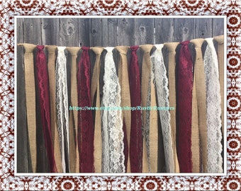 Rustic Wedding Hanging Burlap Lace Garland Burgundy Wine & Ivory Lace Rag Tie Backdrop Curtain Shabby hanging garland 4ft wide X 3ft long