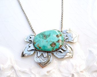 Blue Gem Poinsettia - Turquoise , Argentium Silver, Hand Crafted, One of a Kind Statement Necklace - Pendant