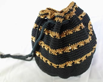 1950's Black and Gold Knitted Drawstring Pouch