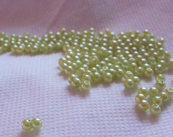 set of 20 Apple green round beads 3 mm