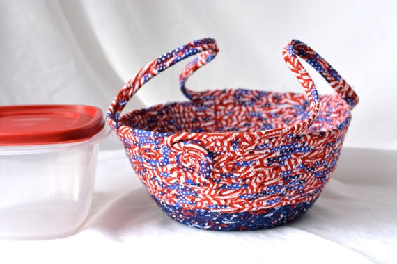 Patriotic Cookie Caddy, Red White and Blue Party Bowl, Decorative Bowl, Picnic Basket, Memorial Day Decoration, Dessert Carrier