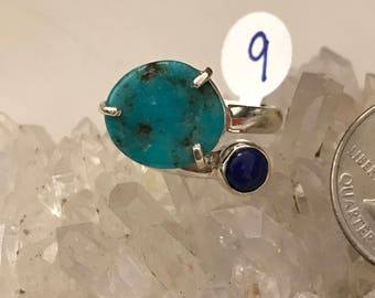 Turquoise and Lapis Ring Size 9