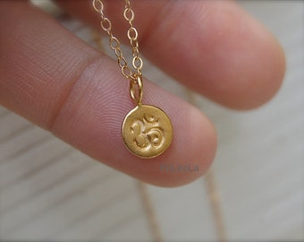 Tiny 24 kt gold dipped Om Necklace,  gold ohm necklaces, yoga necklace, zen necklace, spiritual necklace.