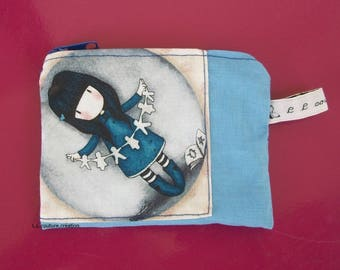 Blue purse with a pretty girl