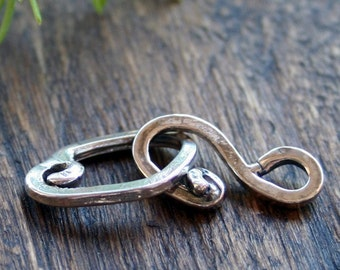 Hook and Eye Clasp Sterling Silver Artisan Clasp H100