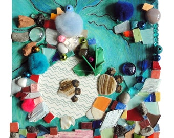 """Art fantaisie : """"le mouton sauvage"""", artisanat techniques mixtes, mosaïque d'art, collage, tableau décoration, déco pièce unique"""