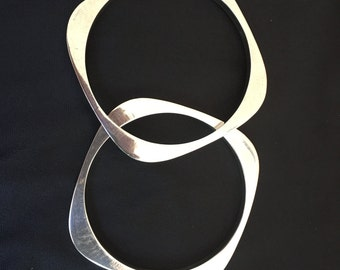 Pair of Sterling Silver Bangle Bracelets, Mid-Century Modern