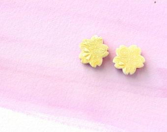 Sakura cherry blossom stud earrings. Faux Ceramic technique. Australian handmade . Gift for her. Hypoallergenic.