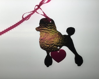 Poodle Silhouette Ornament in Stained Glass