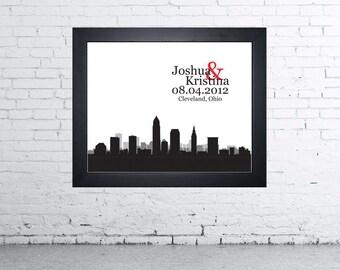 Cleveland Ohio Wedding Gift Custom Skyline Personalized Couple Art Personalized Cleveland Ohio Skyline Art Personalize