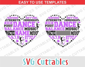 Dance svg, Dance Subway Heart svg, eps, dxf, Dance heart, Dance love, dance template, Silhouette file, Cricut cut file, digital download