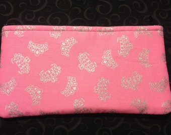 Silver Crowns and Tiaras on Hot Pink Pencil Case, Coin Purse, Wristlet, Cosmetic Bag #67
