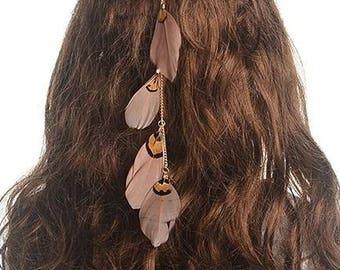 Native American Headband, Feather headband, Tribe headband, Ethnic headband, Indian American Headband, Feather hair accessory.