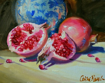 Art Print of, POMEGRANATES, delft and pink, unique fruit, classic painting