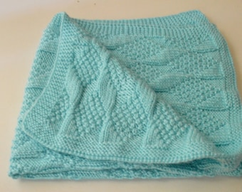Hand Knit Baby Blanket, Knitted Baby Blanket, Handmade Crib Knit Blanket, Baby Shower Gift Idea