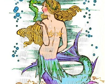 Fabric Mermaid Digital Painting Art Cotton Block Wall Accent Vintage Illustration M202