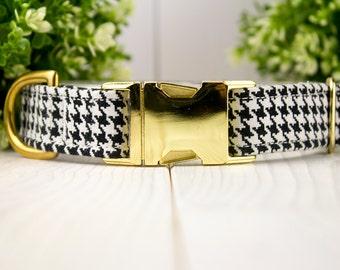 Houndstooth adjustable Dog Collar with Metal Buckle