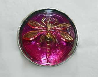 Size 6 1/2 Purple Dragonfly Czech Glass Button Sterling Silver Ring Brushed Silver