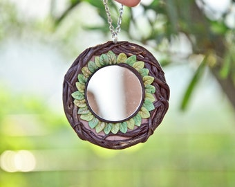 Necklace Mirror Amulet protector Solar Circle leaves