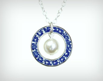 September birthstone necklace. Sapphire necklace. Bridesmaid gift.  Sapphire birthstone necklace. September birthday gift for her.  N-086-9