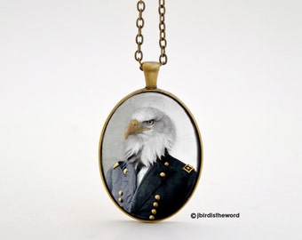 Eagle Necklace, Eagle Pendant, Bird Necklace, Eagle Jewelry, Mens Necklace, Eagle, Eagle Charm, Bird Jewelry, Civil War Jewelry, Civil War