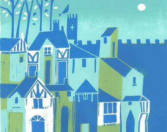 York  Linocut - Original Limited Edition of 50 - Yorkshire UK England -  Europe - Green Magical English Medieval City by Giuliana Lazzerini.