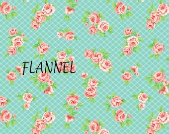 Aqua, Pink, Peach Floral Flannel Fabric, Camelot Fabrics 71170102B 01 Laura Ashley, Elm Park Collection, Cotton Flannel Yardage