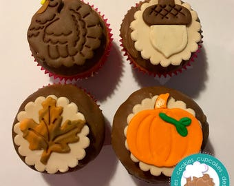 Thanksgiving fondant cupcake topper