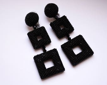 Double square earrings. Black-tone beaded clip earrings. Earrings in the style of Oscar De La Renta. Handmade.