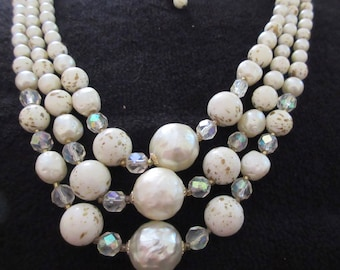 Vintage Triple Strand Graduated Faux Pearl and Crystal Beaded Necklace in Gold Tone