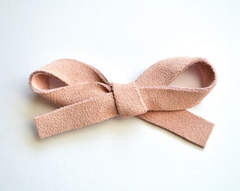 SUEDE Pastel Ballet Pink LARGE Leather Bow Clip Photo Prop for Newborn Baby Little Girl Child Adult Summer Headwrap Easter Pretty Bow