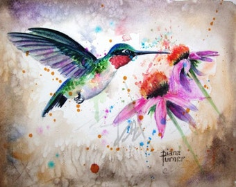 Ruby-throated Watercolor Painting Hummingbird Original Watercolor Giclee Print Watercolor Original Hummingbird Painting wall decor.