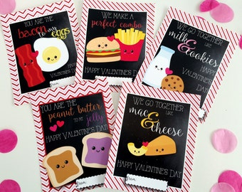 Kids Valentine's Day Cards Digital Download Perfect Pair Hearts School Cards