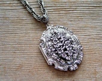 Whiting Davis Locket, Large Vintage Whiting Davis Art Nouveau Locket, Silver Floral Locket, Baroque Locket, Mourning Locket, Oval Locket