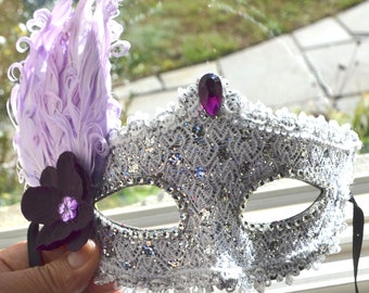 Violet et argent mascarade nuptiale masque, masque de Mascarade, masque rose, masque en dentelle, mardi gras, costume, sweet 16, homecoming, masque d'halloween,