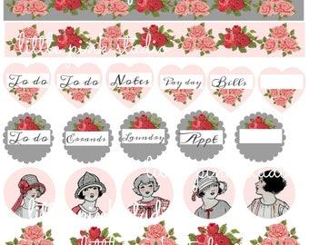 Planner Girls are the Happiest Girls 02,   printable planner sticker sheet, vintage style, vintage ephemera