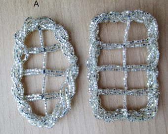 Vintage Faceted Glass Beaded Buckles