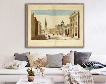 """1812 Oxford University magic lantern reprint, French """"Vue d'Optique"""" of Oxford by Bassett- 4 sizes up to 32x24- Fine Art Home Decor"""