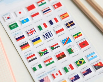 On Sale 40 Pcs Flag Stickers - Diary Stickers - Deco Stickers