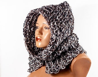 Ready to Ship - Acrylic Scarf, Hooded Scarf, Chunky hooded scarf by LoveKnittings