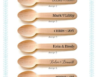 Personalized Wooden Utensils Available in Three Sizes - Your Names - FREE U. S. SHIPPING