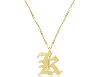 10K Solid Yellow Gold Custom Uppercase Old English Initial Letter Pendant Rolo Chain Necklace Set - A-Z Any Alphabet Charm